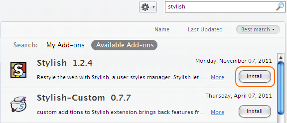 Facebook Stylish Addon