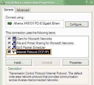 Protokol TCP/IP Installed