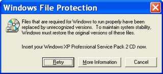 mengatasi windows file protection