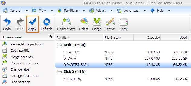 Apply Easeus Partition Manager Tasks