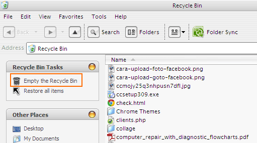 Cara Empty Recycle Bin