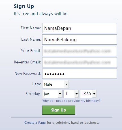 Cara Membuat Facebook Account Form