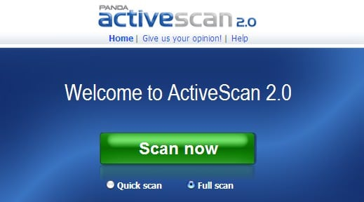 Panda Security ActiveScan Online Virus Check