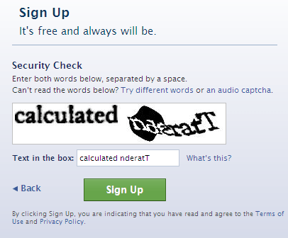 Create Facebook Account Captcha