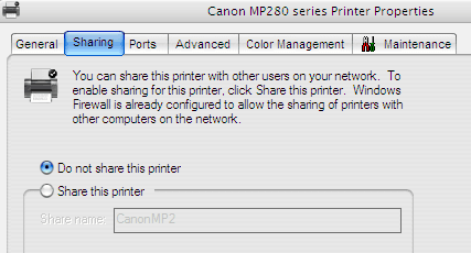 Disabling Printer Sharing Mode