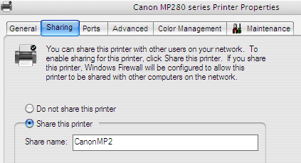 Enabling Printer Sharing Mode