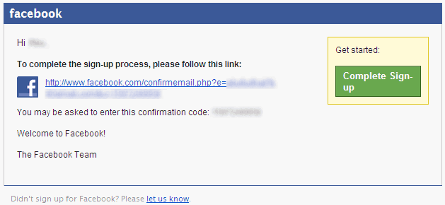 Facebook Email Confirmation Link
