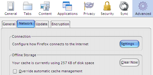 Mozilla Firefox Advanced Network Settings