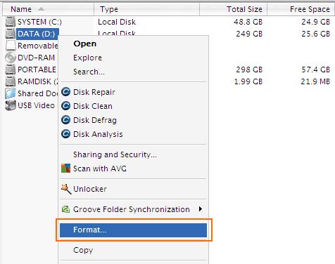 Cara Format Harddisk - Klik Kanan