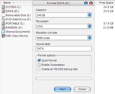 Format Harddisk - Quick Format