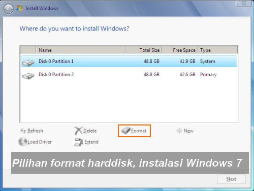 Format Harddisk Instalasi Windows 7