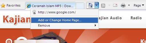 Internet Explorer Change Home Page