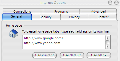 Internet Explorer Multiple Homes