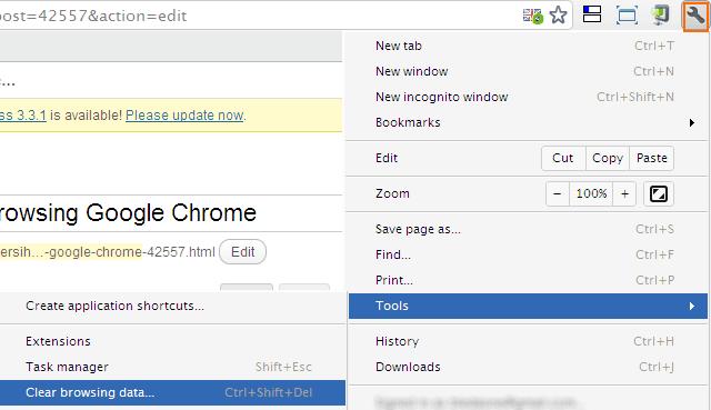 Menghapus Data Browsing Google Chrome