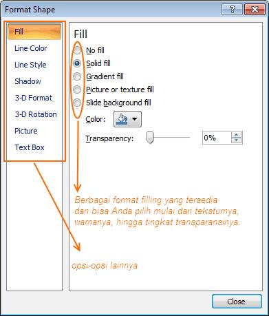 Background Power Point - Format Shape Menu