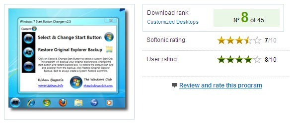 Rating Mengganti Tombol Start Windows 7