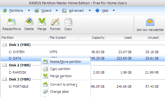 Resize/Move Harddisk Partition