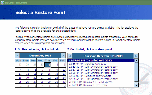 System Restore GUI Windows XP