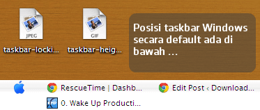 Posisi Taskbar Default Windows
