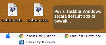 Posisi Taskbar Default Windows
