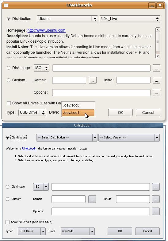 UNetBootin Distro ISO Choice