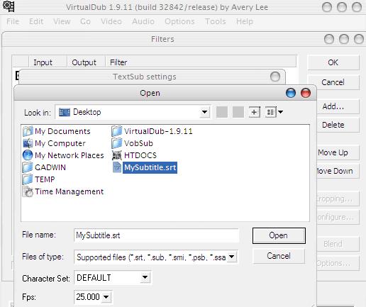 VirtualDub Select Subtitle