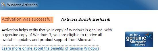 Windows 7 Aktivasi - Sukses!