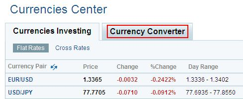 Konversi Mata Uang - Yahoo Currency Converter Menu