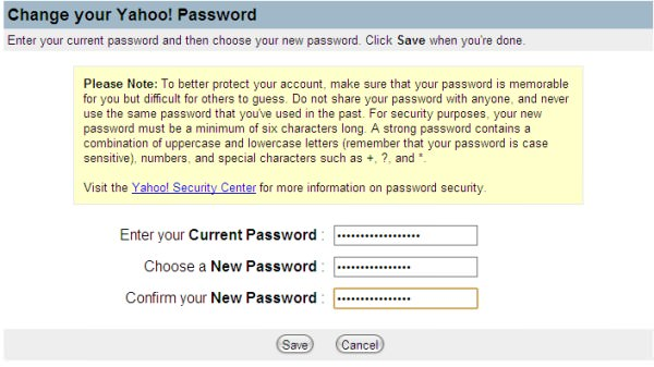Mengganti Password Baru Yahoo Mail