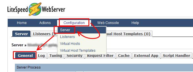 Config > Server > General